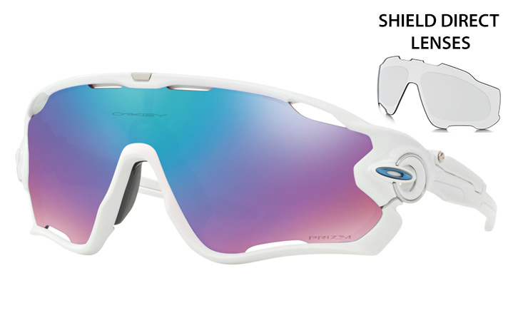 609b2b5ef9 Oakley Jawbreaker prescription sunglasses Polished White with Blue Icon