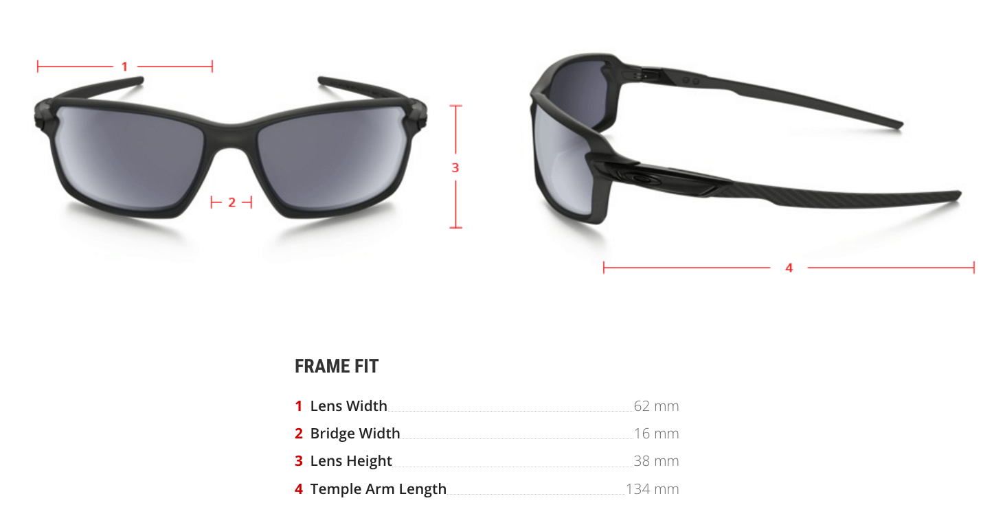 oakley prescription carbon shift sunglasses measurements