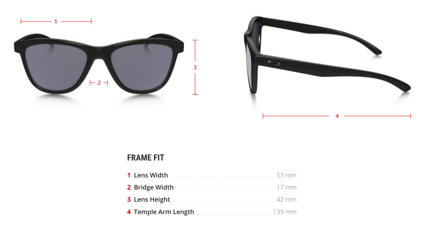 oakley prescription moonlighter sunglasses measurements