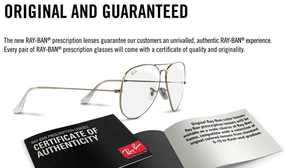 ray ban prescription sunglasses guarantee booklet
