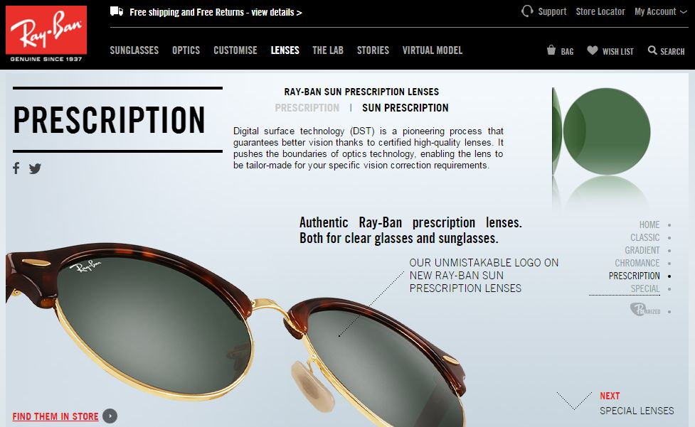 ray ban prescription sunglasses home page